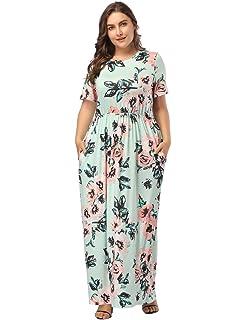 748c06a650eb FeelinGirl Damen Lange Kleid Kleider Sommerkleider Maxikleider Blumenkleid  Blumedrucken Strandkleid Rundhals High Waist Plus Size