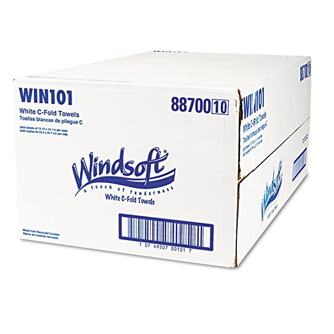 Amazon.com: Windsoft 101 Embossed C-Fold Paper Towels, 10 1/10 x 13 1/5, White, 200/Pack, 12 Packs/Carton: Kitchen & Dining