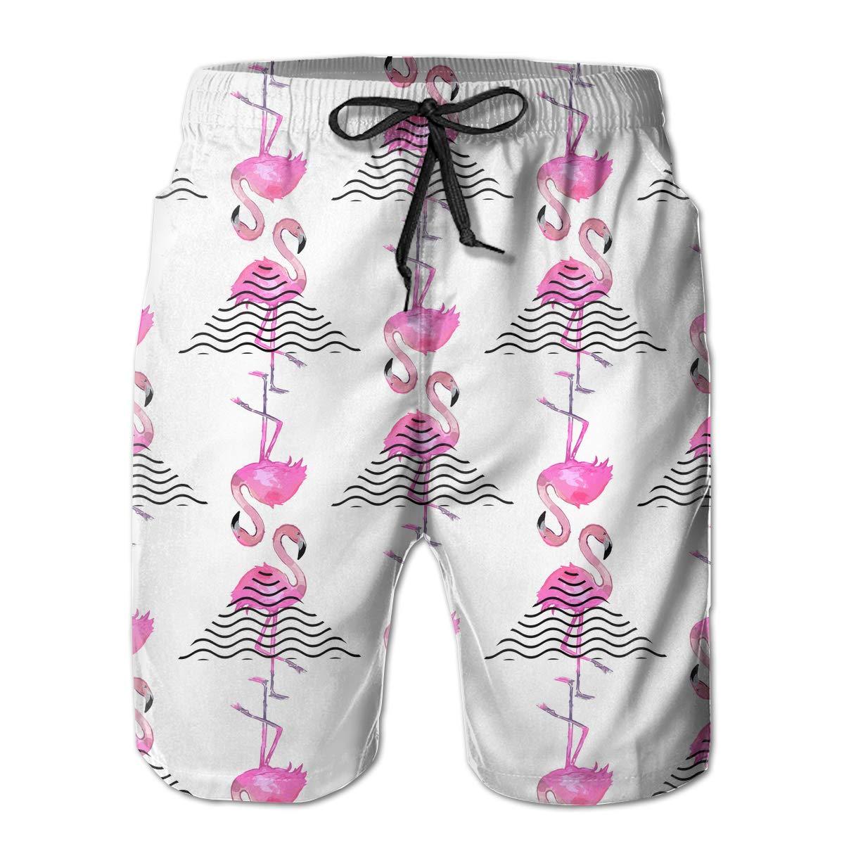 Flamingo Pattern Mens Boardshorts Printing Swim Trunks