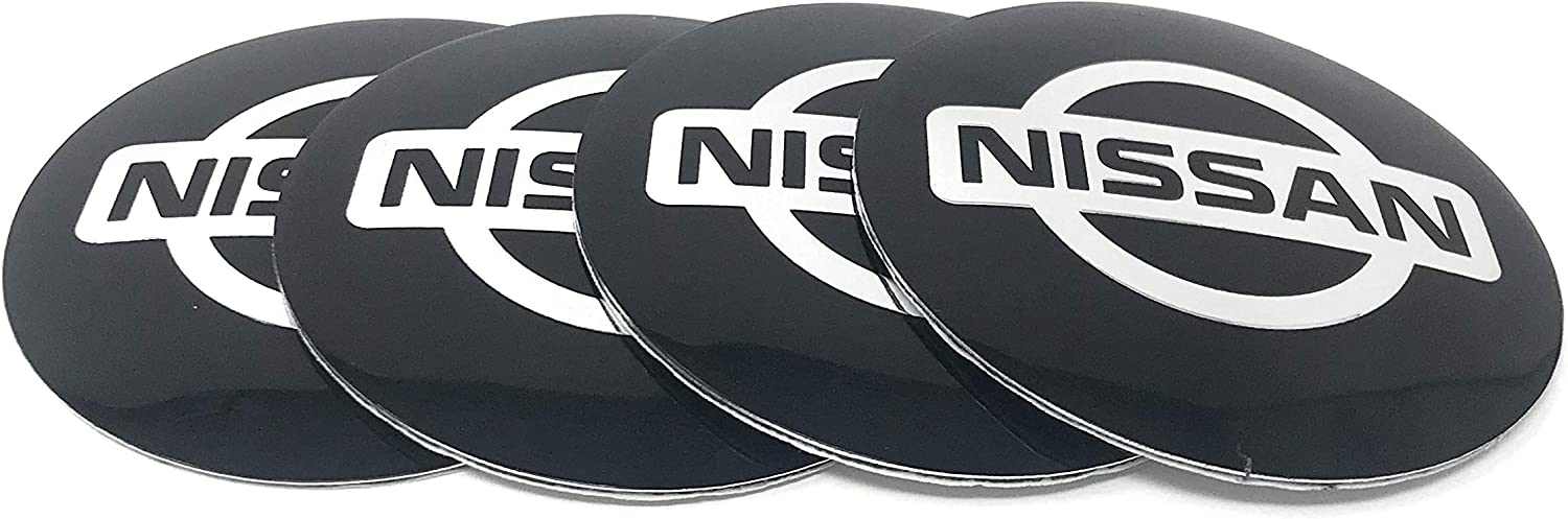 Pack of 4 BLACK 2.20 inch RENGVO 56mm Hub Cap Stickers For NSN NISMO 350Z 370Z SENTRA MICRA ALTIMA ETC Wheel Center Mag Rim Hubcap Emblem Logo Sticker PLEASE MEASURE Before Purchase for Best Fitment