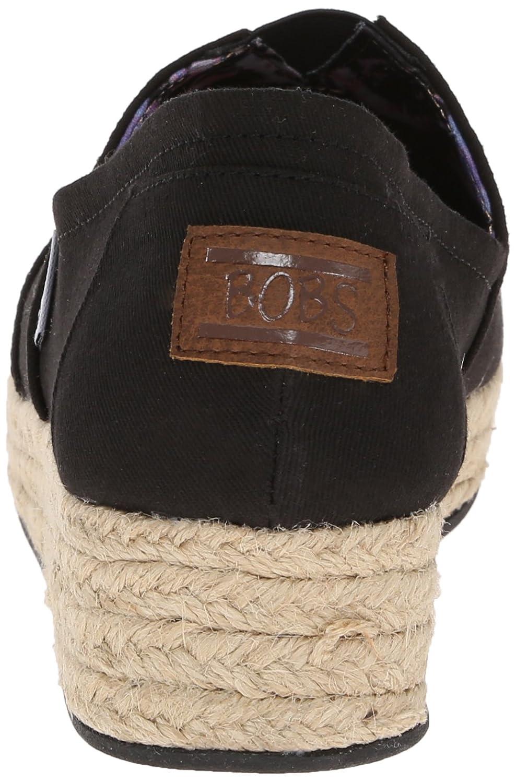Skechers BOBS from Women's Highlights Flexpadrille Wedge B00M93JLBU 9.5 B(M) US Black Canvas