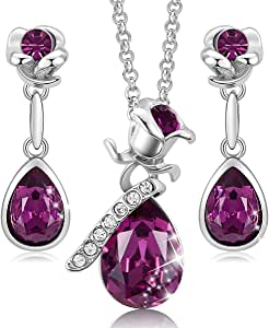CDE     alloy flower-shape rose-shape   pink white crystal  Purple