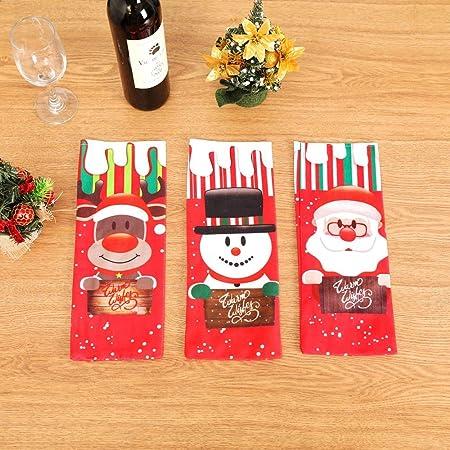 ZhangHongJ,Gorra de Papá Noel Decorada con 3 Piezas de Botella de Vino de Navidad(Color:Rojo,Size:3 Piezas): Amazon.es: Hogar