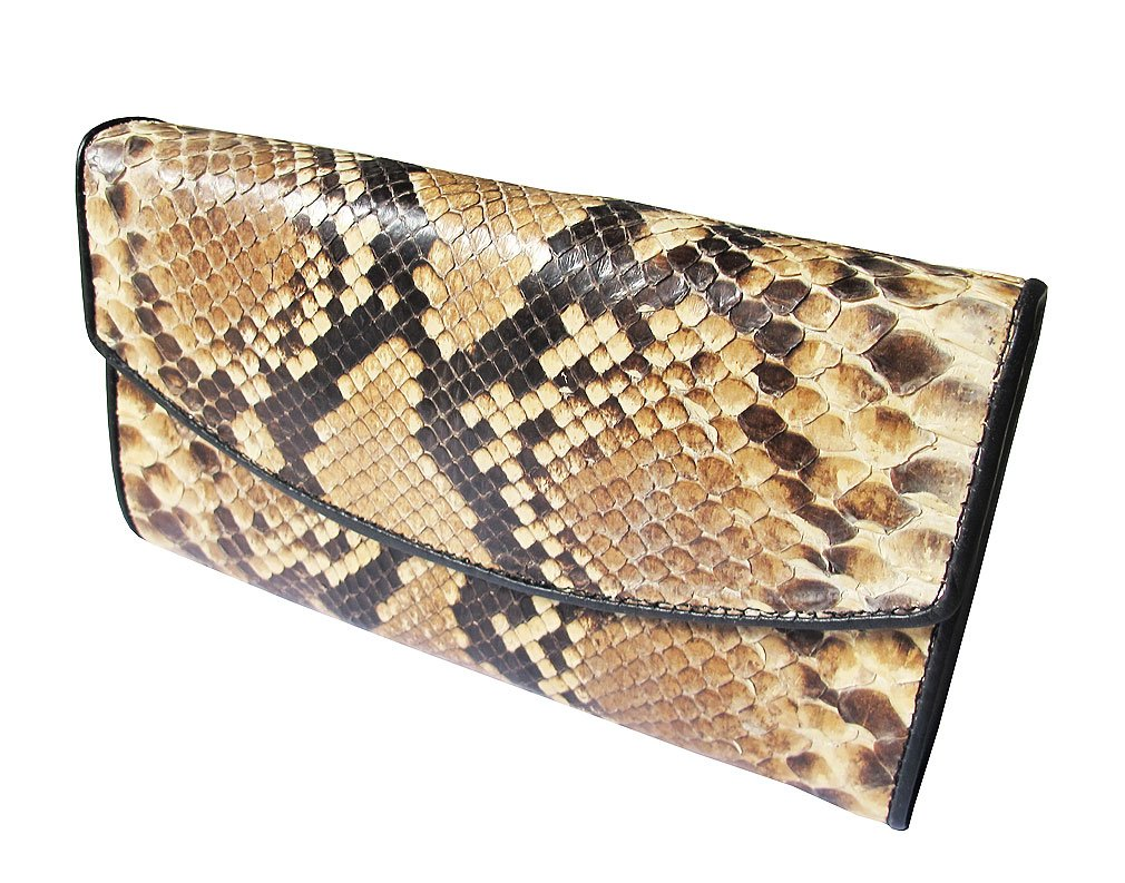 Thai Genuine Bifold Long Wallet Python Size Closed 4.0 X 7.0 Inches Inside Many Compartment