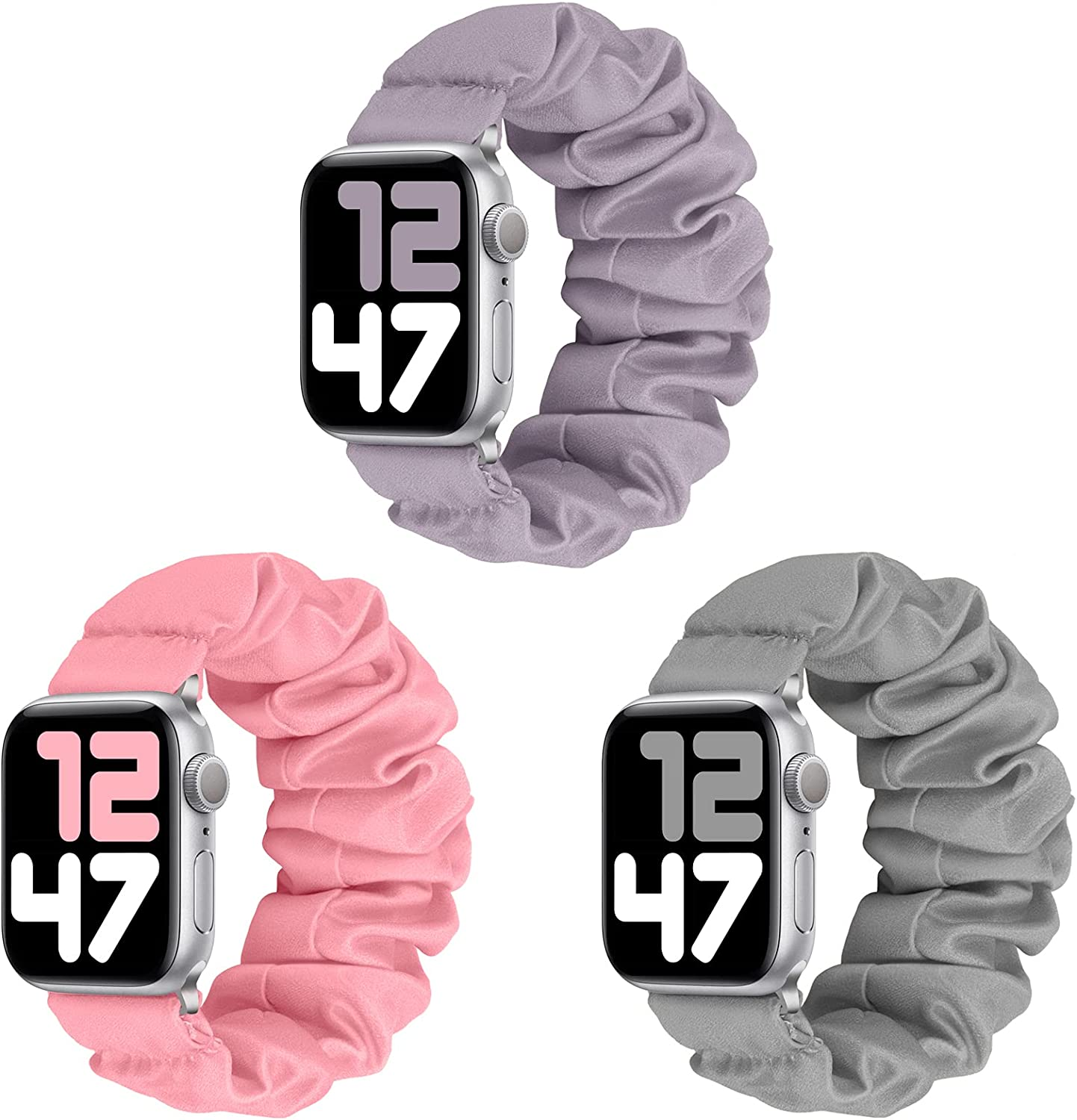 JIELIELE 3 Packs Compatible with Scrunchie Apple Watch Band 38mm 40mm 42mm 44mm for Women, Cute Stretchy Elastic Wristbands Straps Watch Band for iWatch Series 6 5 4 3 2 1 SE