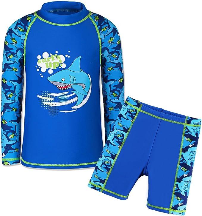 UV Swimwear Sun Protective Long Sleeve Two Piece Swimsuit 4-12Years TFJH E Kids Boys UPF 50