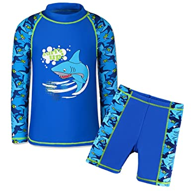 769309c4b2d2d TFJH E Little Boys 2piece Sunsuits UPF 50+ UV Sun Block Surfing Swim Shirt  Trunks