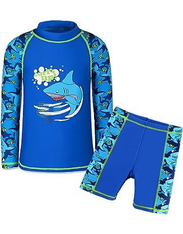 2de8e683a4 HUAANIUE Boys Scrawl Black Swimsuit UPF 50+UV Protection Two Piece Swimming  set 5-