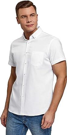 oodji Ultra Hombre Camisa Básica de Manga Corta: Amazon.es: Ropa y accesorios