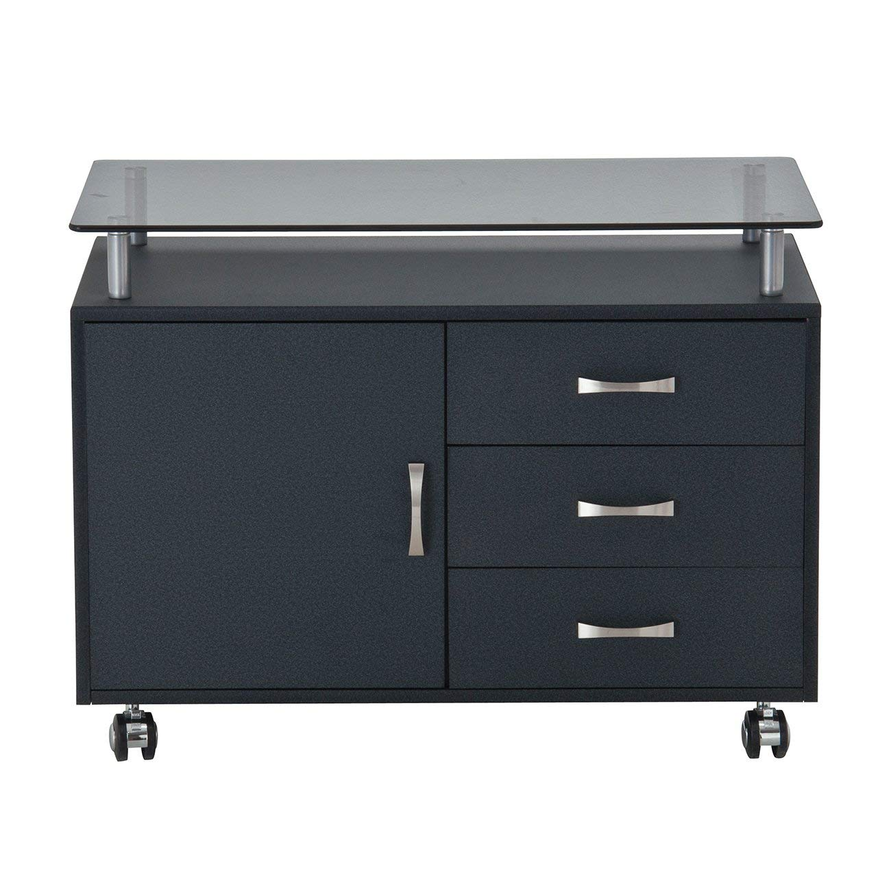 Rolling Storage Cabinet With Frosted Glass Top. Color: Graphite by Techni Mobili (Image #5)