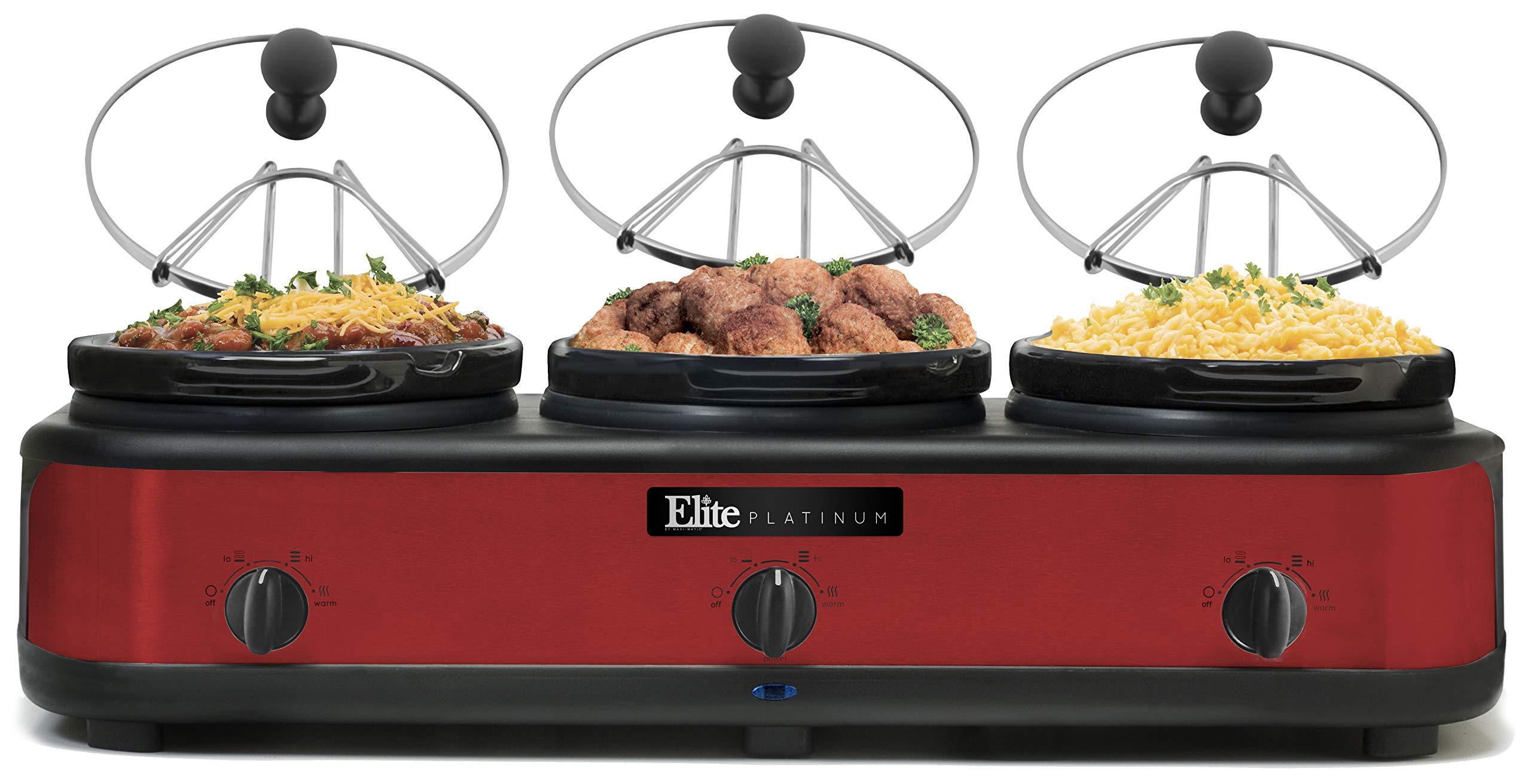 Elite Platinum EWMST-325R Triple Slow Cooker Buffet Server, Warmer, Adjustable Temp Dishwasher-Safe Oval Ceramic Pots, Lid Rests, 3 x 2.5Qt Capacity, Red by Maxi-Matic