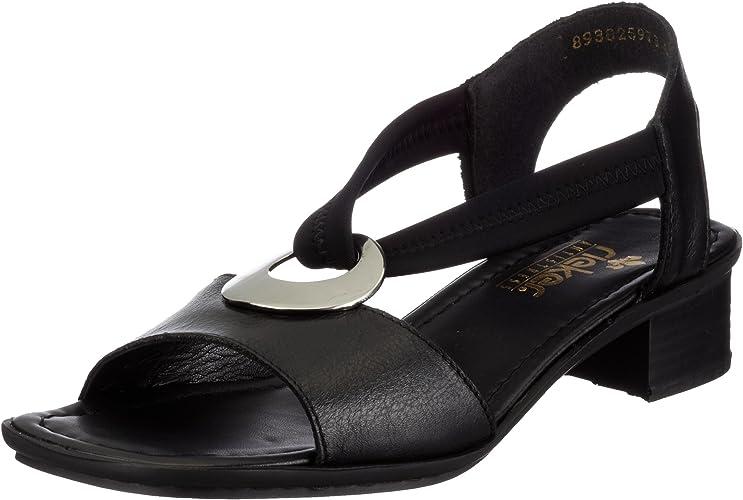 rieker Damen Sandale Schwarz Schuhe, Größe:36