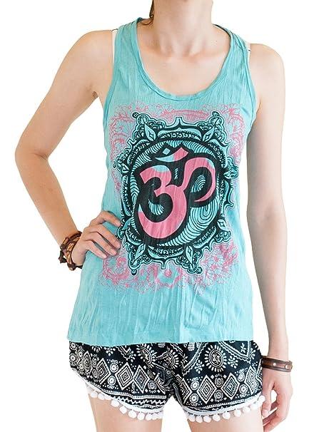 BohoHill Womens Yoga Shirt Mandalas Om Casual Tank Top Turquoise