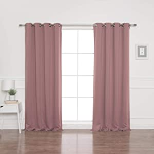 "Best Home Fashion Blackout Curtain Panels - Premium Thermal Insulated Window Treatment Blackout Drapes for Bedroom - Antique Bronze Grommet Top – Mauve - 52"" W x 84"" L - (Set of 2 Panels)"