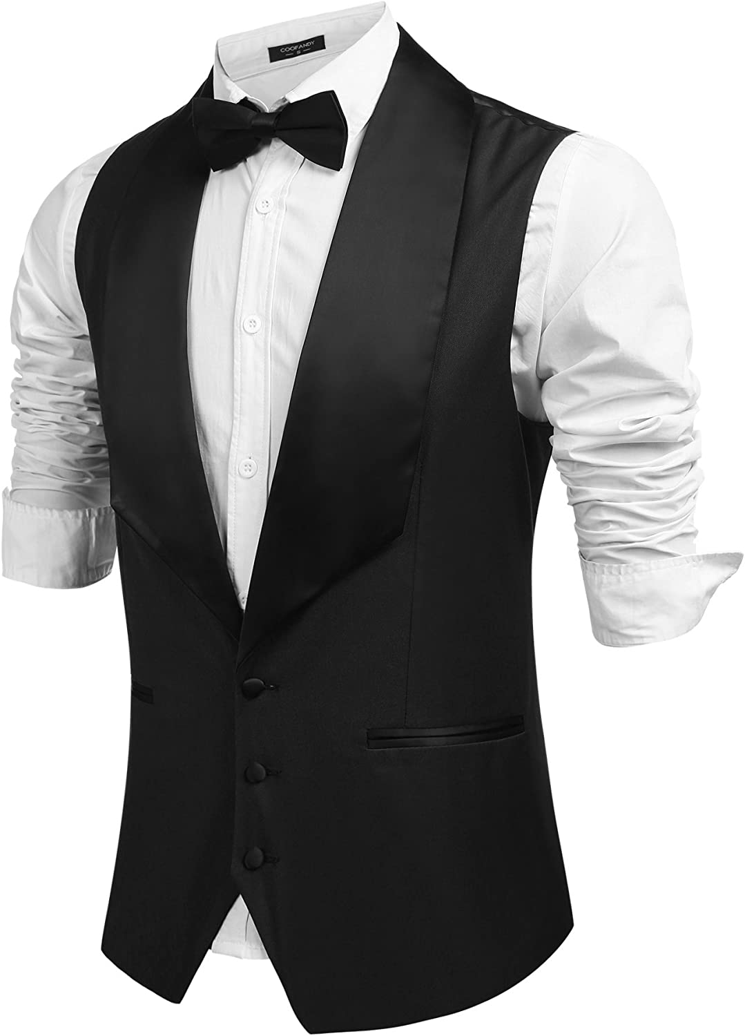 1930s Men's Fashion Guide- What Did Men Wear? Coofandy Mens V-Neck Slim Fit Dress Suit Sleeveless Vest Waistcoat $31.99 AT vintagedancer.com