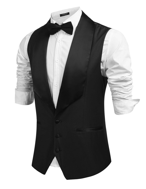 Men's Vintage Vests, Sweater Vests Coofandy Mens V-Neck Slim Fit Dress Suit Sleeveless Vest Waistcoat $31.99 AT vintagedancer.com