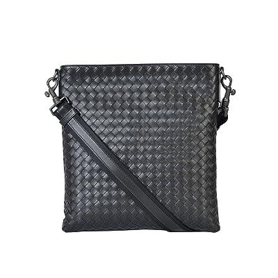 Bottega Veneta Men s 276357V465C1000 Black Leather Messenger Bag hot sale 07ec2263a4