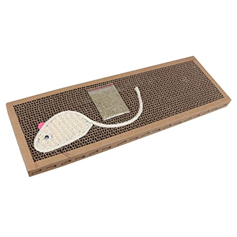 Nobleza - Rascador de cartón para Gatos. Alfombrilla con Catnip. 38cm * 12.5cm