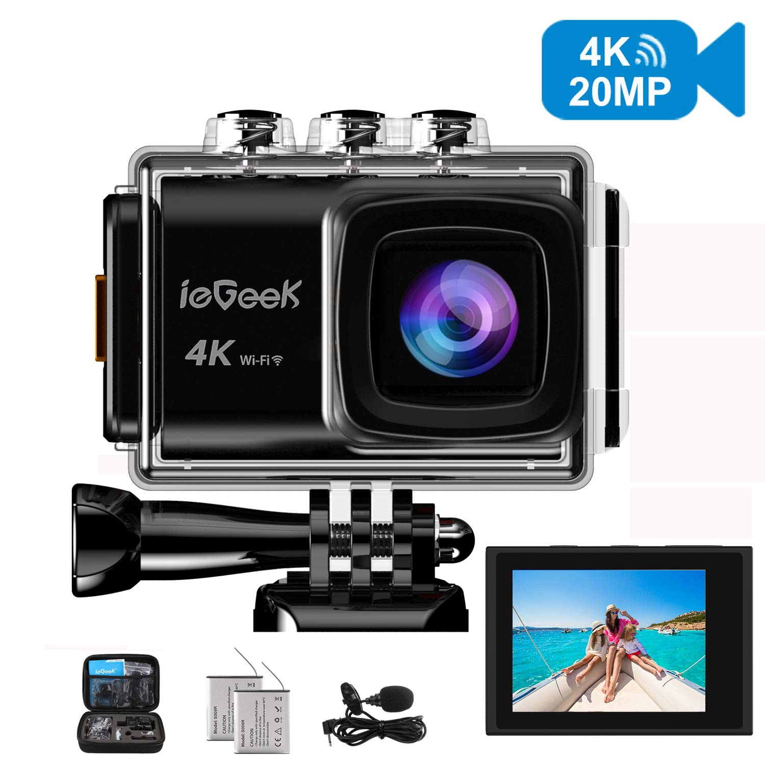 Action Camera, ieGeek 4K 20MP WiFi Waterproof Sports Cam Ultra HD Underwater Camera DV Camcorder EIS Image Stabilizer 170 Degree Wide-Angle with 2 Battery/External Microphone/Carry Case/Accessory Kit by ieGeek (Image #1)