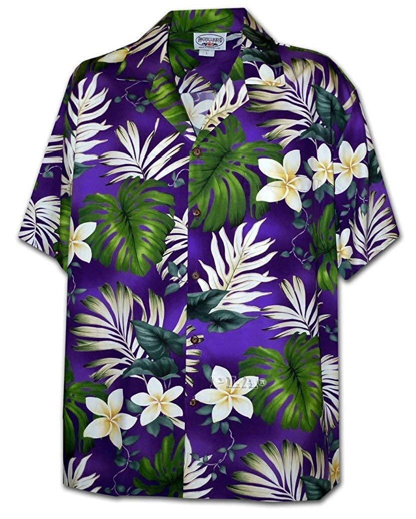 Pacific Legend Tropical Floral Monstera and Plumeria Hawaiian Shirt