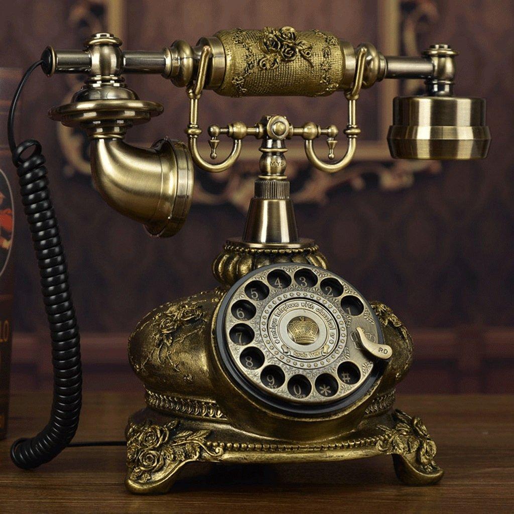 固定電話 アンティークビンテージ樹脂電話ナショナル家庭用金属ターンテーブル固定電話 - メカニカルダブル着メロ   B07CZTH336