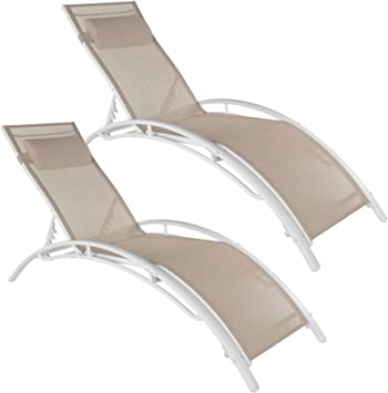 Tectake 800675 2 Bains De Soleil En Aluminium Inclinables Sur 5 Positions Pour Jardin Et Piscine Coussin Pour La Tête Inclus Plusieurs Coloris