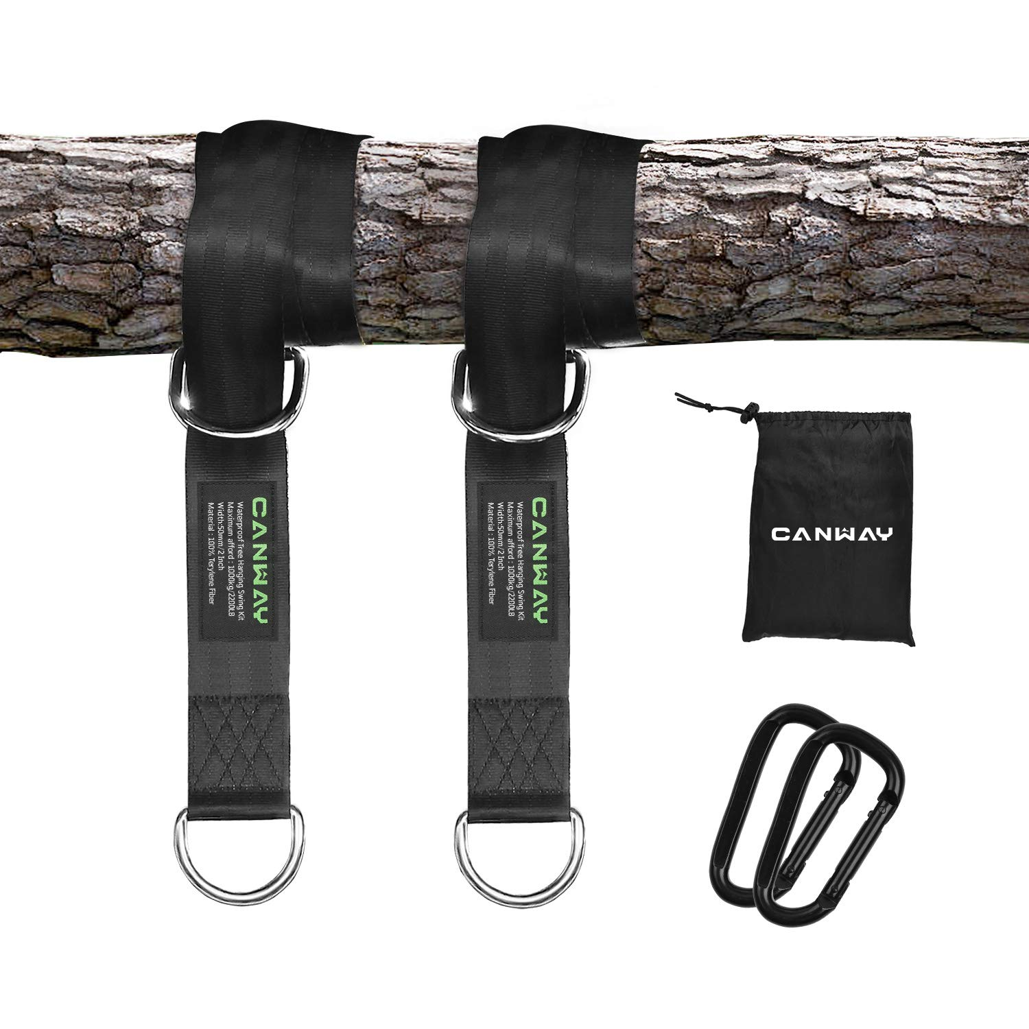 CANWAY Set of 2 Tree Swing Straps Hanging Kit Holds Max 2200 LB with Two Heavy Duty Carabiners (Stainless Steel) - Camping Hammock Accessories (5ft) by CANWAY