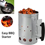 "First4Spares Rapid fire Chimney Starter Fireplace BBQ Chimnea Heat resistant Steel Barbecue Starter 11"" inch High x 7"" Wide & Large Handle"