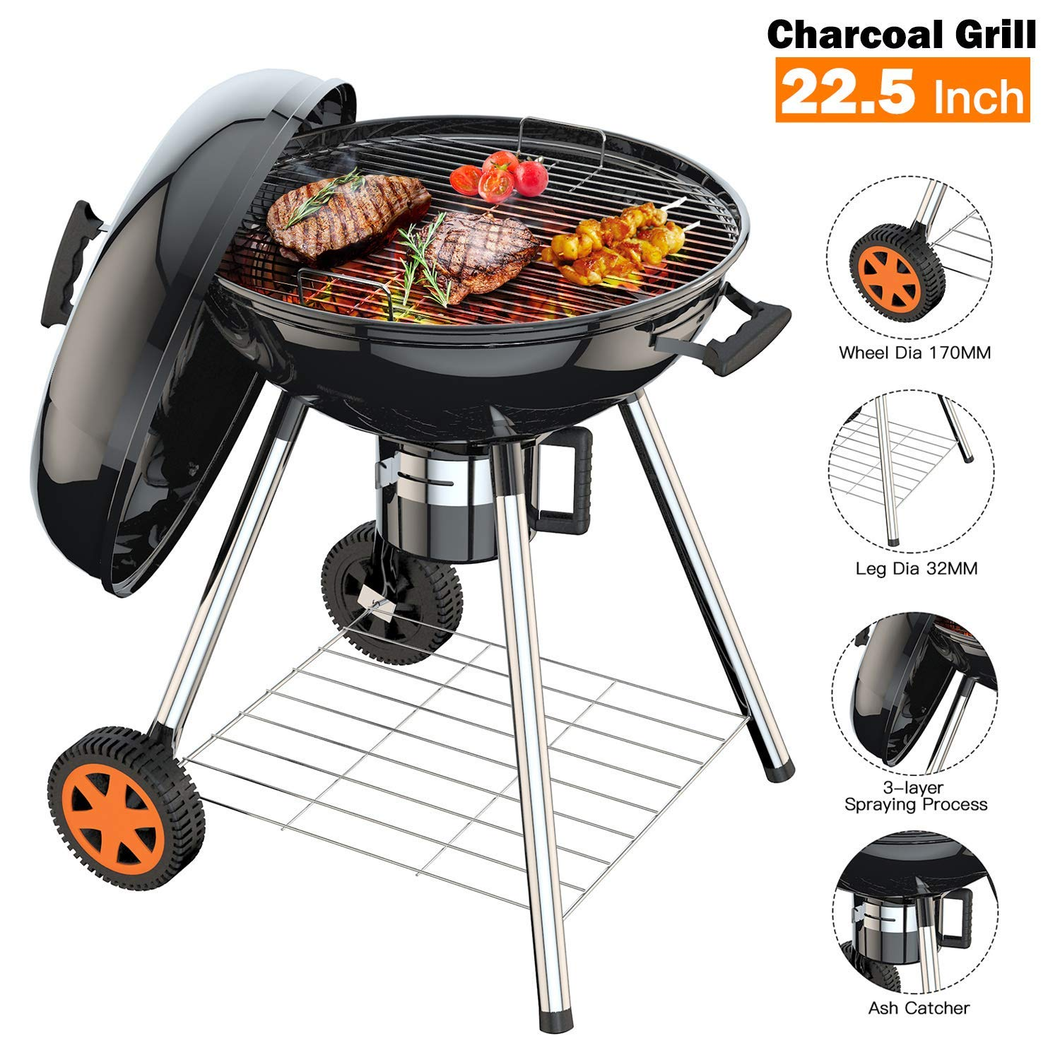 TACKLIFE Oversize Grill, 22.5 inch Charcoal Grill for Outdoor Barbecue, Picnic Patio Backyard Camping Cooking Grate