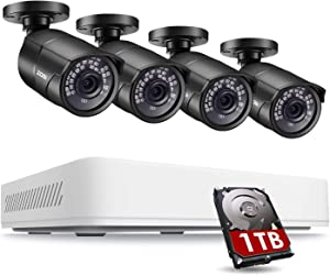ZOSI 5MP 2K Home Security Camera System Outdoor Indoor, H.265+ 8 Channel DVR with Hard Drive 1TB and 4 x 2K(5MP) Weatherproof Surveillance Bullet Cameras with 120ft Night Vision, 110° View Angle