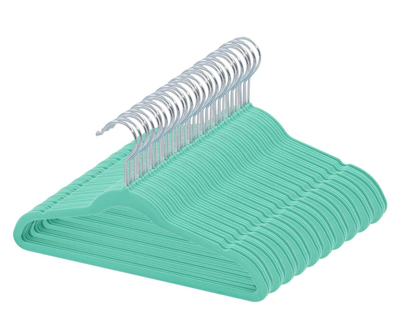 TQVAI 50 Pack Baby Velvet Clothes Hangers Non Slip Space Saver, Mint Green