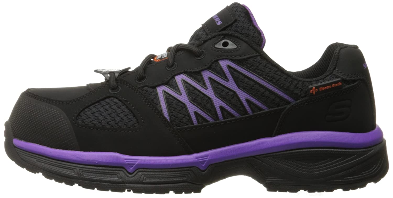 Skechers for Work Women's Conroe Kriel Slip Resistant Shoe B01B5OBEZY 9.5 B(M) US|Black/Purple