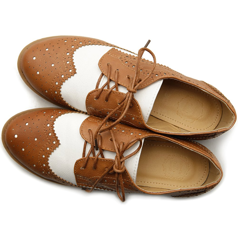 1920s Shoes for UK – T-Bar, Oxfords, Flats Ollio Womens Flat Shoe Wingtip Lace Up Two Tone Oxford $29.99 AT vintagedancer.com