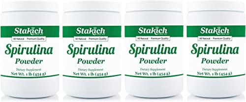 Stakich SPIRULINA Powder 4 LBS 4 Jars of 1 LB – 100 Pure, All Natural, Top Quality