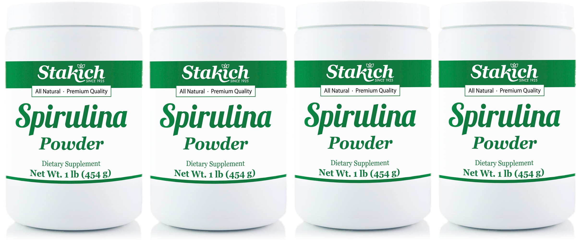 Stakich SPIRULINA POWDER 4 LBS (4 jars of 1 LB) - 100% Pure, All Natural, Top Quality
