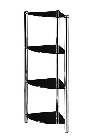 etagere d'angle en verre noir