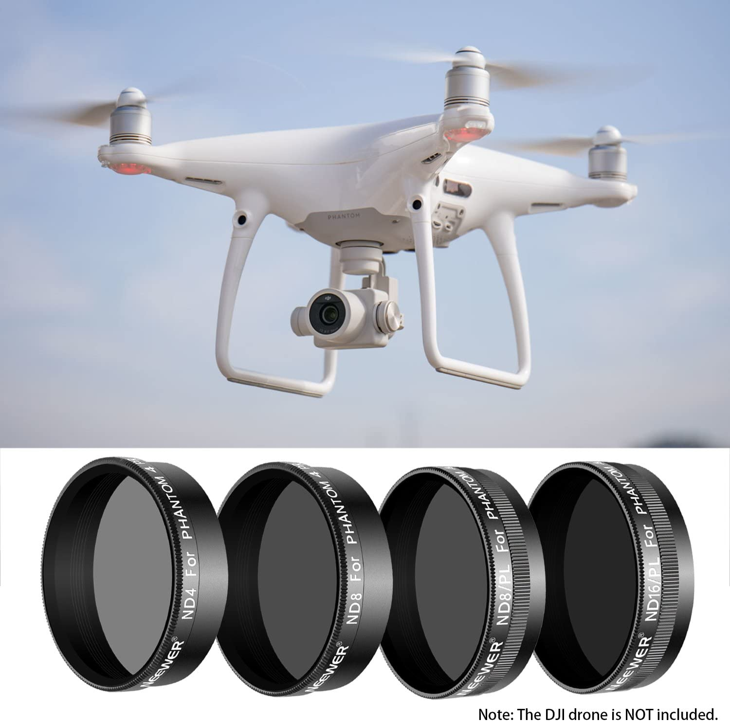 ND8 Black ND8//PL Made of Multi Coated Optical Glass and Waterproof Aluminum Alloy Frame Neewer 4 Pieces Pro Lens Filter Kit for DJI Phantom 4 Pro Quadcopter Includes: ND4 ND16//PL