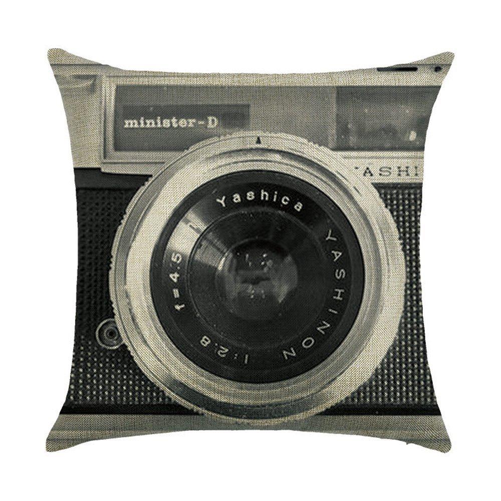 Retro c/ámara almohada de algod/ón Lino decorativa Funda de coj/ín para sof/á coche 45/X 45/cm 1