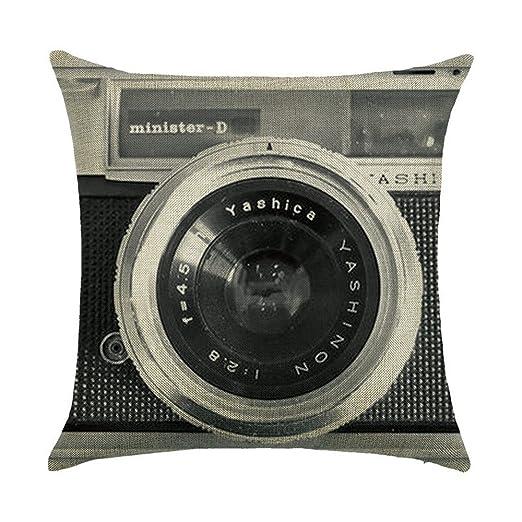 Almohada Funda De Cojín Retro Vintage Cámara algodón sofá cojín decoración Cojín Auto Home Decor 45 x 45 cm (sin cabeza Núcleo) 3