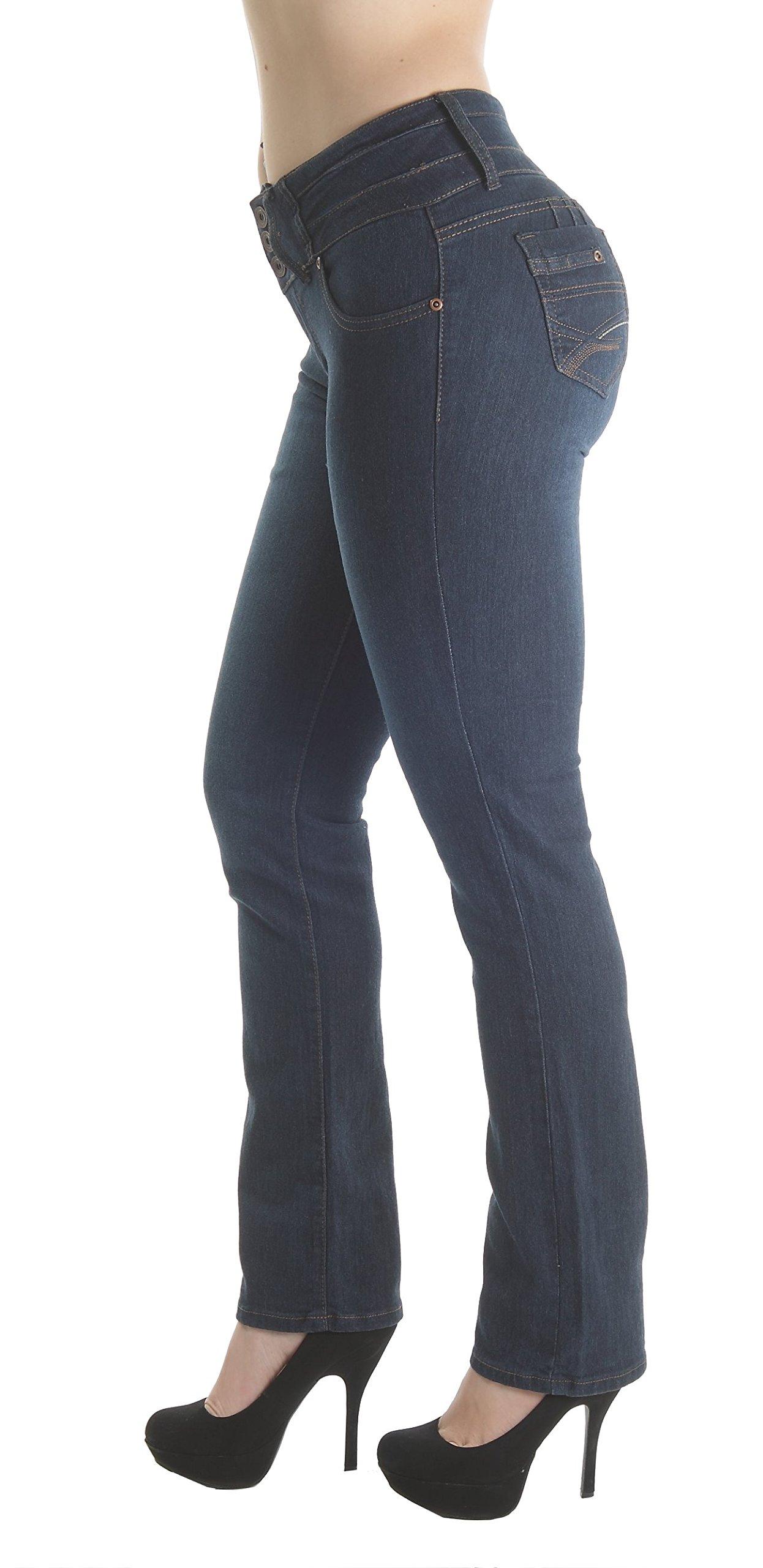 Fashion2Love FCH138BT – Colombian Design, Butt Lift, Levanta Cola, High Waist, Boot Leg Jeans in Navy Size 3