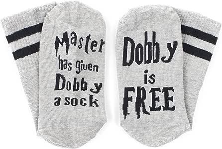 HMILYDYK Calcetines Unisex Letras Divertidas Dobby is Free ...