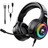 Gaming Headset Xbox One Headset with Stereo Surround Sound,PS4 Gaming Headset with Mic & LED Light Noise Cancelling Over Ear