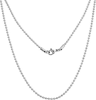Silvadore 2mm Ball Mens Necklace - Silver Chain Stainless Steel Jewelry - Bead Neck Link Chains for Men Man Women Boys Male Military Dog Tag Pendant - 18