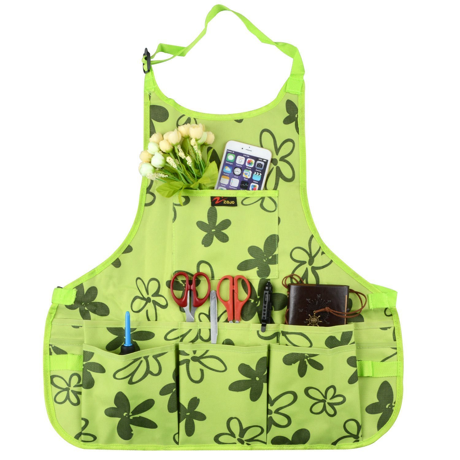 Hitommy Apron 600D Oxford Work Aprons Grilling Tools Gardening Painting Apron Workers Apron with Tool Pockets and Adjustable Belt for Women WQ1 - women
