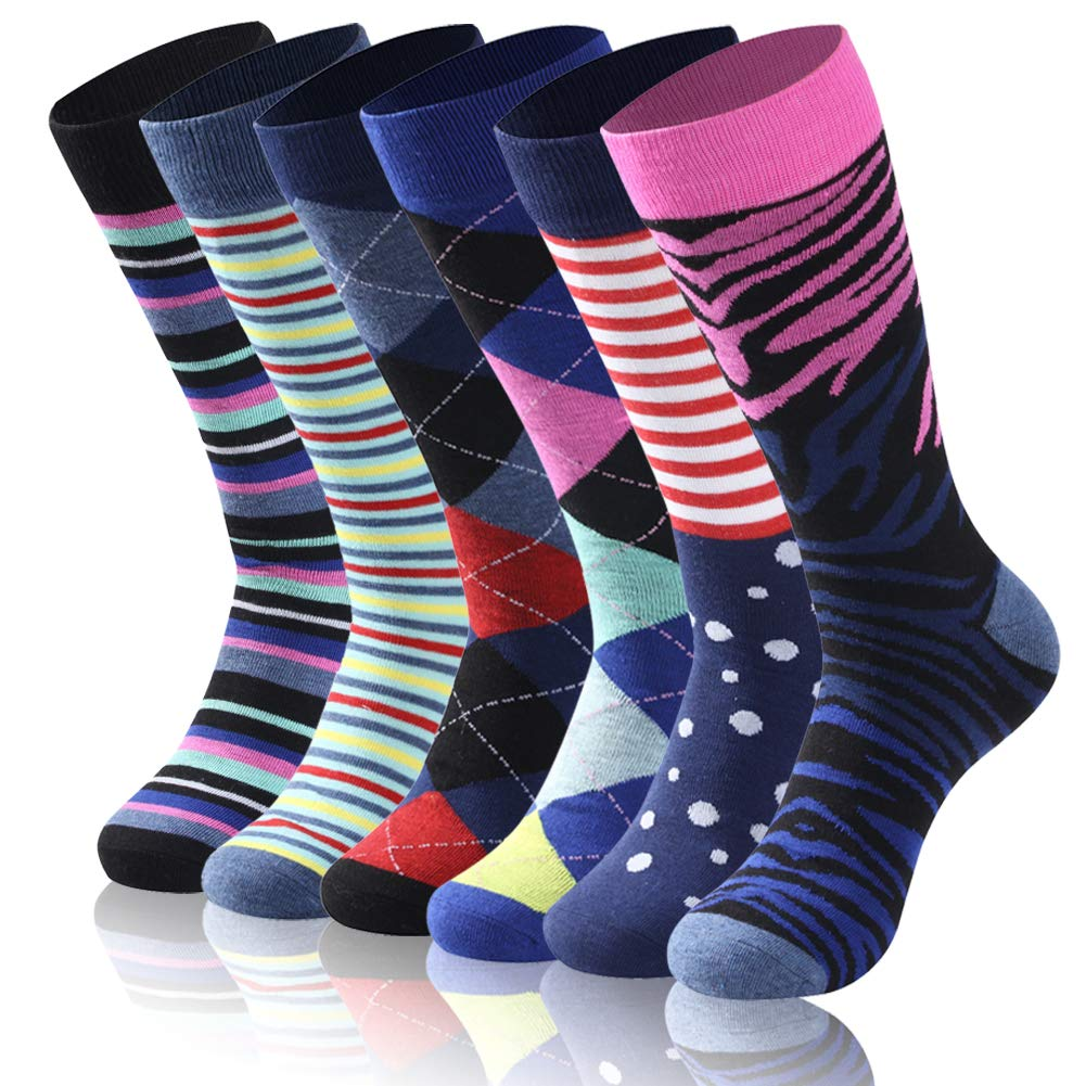 Diwollsam Classic Business Dress Socks, Summer Mens Soft Ribbed Funky Crazy Patterned Gift Running Golf Elite Casual Mid Calf Dress Socks,6 Pairs(Assorted Mix, M) by diwollsam