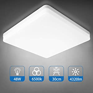 Combuh Ceiling Light 48W 12 Inch Square Flush Mount LED Close to Ceiling Lamp Fixture Daylight White 6000K for Kitchen Bedroom Garage Laundry Not-dimmable
