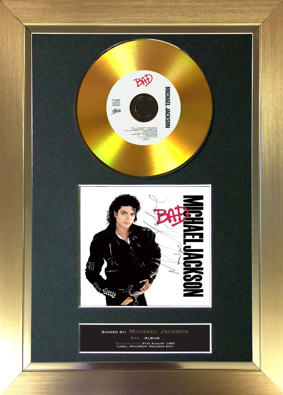 30 x 20 cm Motivo: Disco Dorato Struttura Nera The Autograph Collector #104 Formato A4 Album con autografo di Michael Jackson