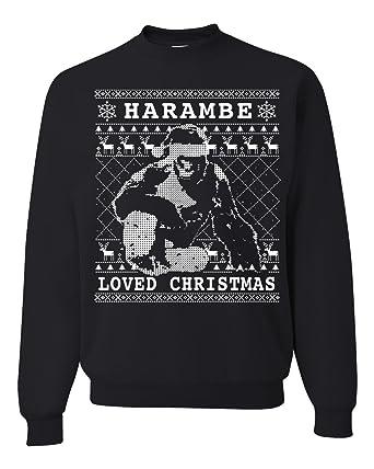 harambe loved christmas ugly christmas sweater unisex crewneck sweatshirt black small