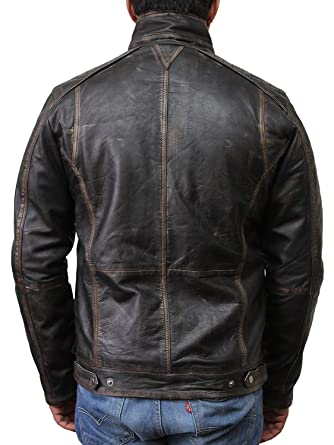 BRANDSLOCK Mens Leather Jacket Genuine Sheepskin Vintage Distressed