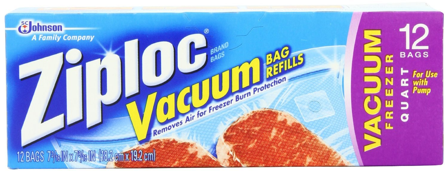 Ziploc Vacuum Refill Bags (Pack of 3)(12 count)(Special one-way valve that allows air in the bags to be removed)(Includes specially designed vacuum bags)